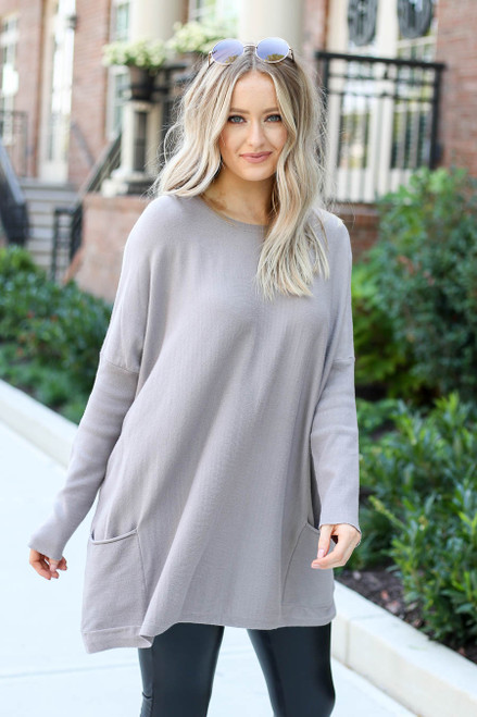 Model wearing Taupe Oversized Ribbed Sweater Tunic Front View
