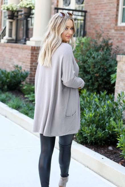 Taupe - Oversized Ribbed Sweater Tunic Back View