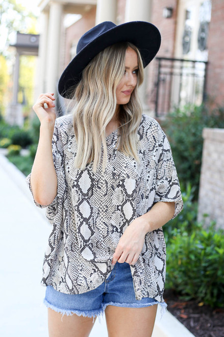 Model wearing Taupe Oversized Snakeskin Blouse Front View