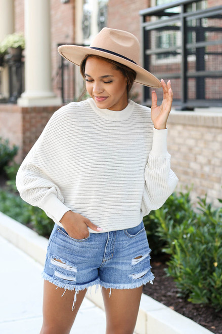 Model wearing Taupe Ribbed Batwing Sleeve Sweater