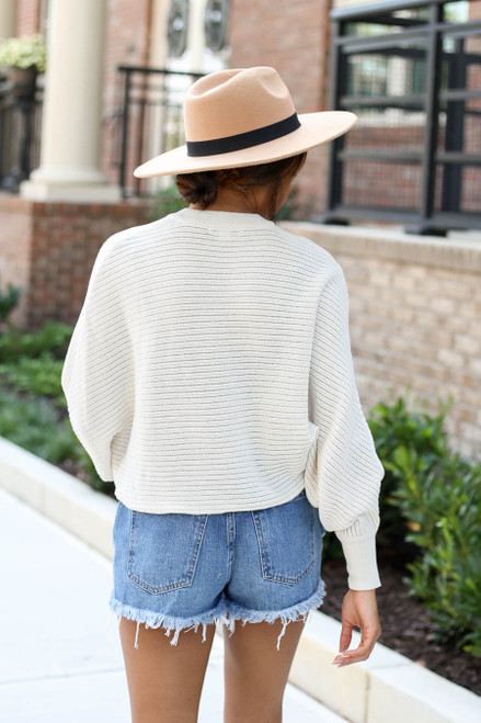 Model wearing Taupe Ribbed Batwing Sleeve Sweater Back View