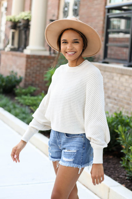 Model wearing Taupe Ribbed Batwing Sleeve Sweater Side View