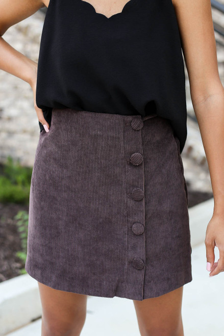 Brown - Corduroy Button Front Skirt Detail View