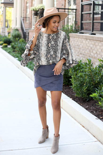 Model wearing Taupe Oversized Snakeskin Ruffle Sleeve Top and Skirt Full View