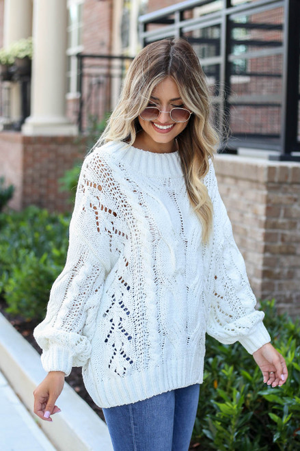 Model wearing Ivory Cable Knit Chenille Sweater