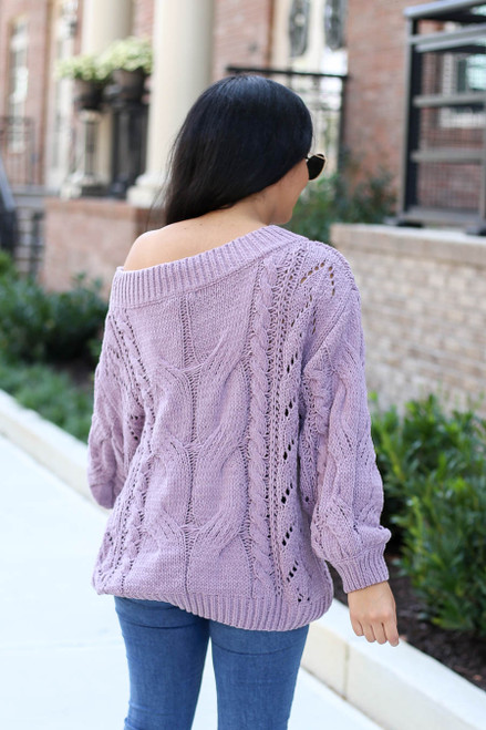 Lilac - Cable Knit Chenille Sweater Back View