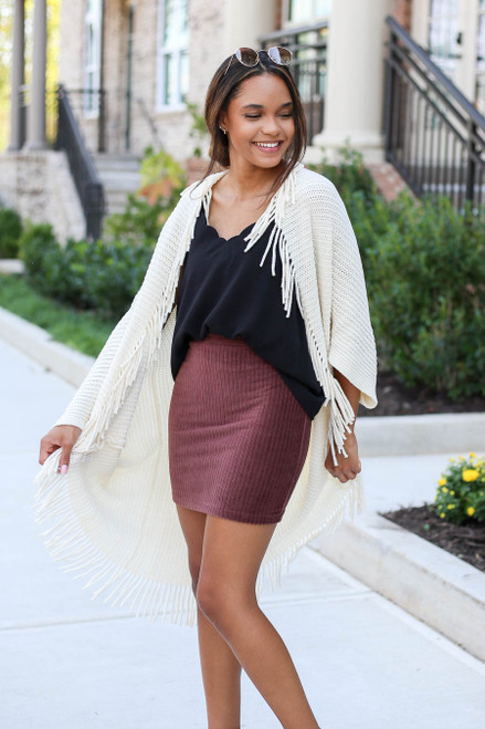 Model wearing Ivory Chenille Fringe Cardigan Front View