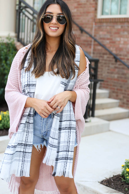 Pink - Chenille Fringe Cardigan with Scarf