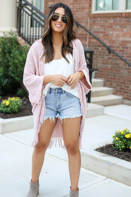 Model wearing Pink Chenille Fringe Cardigan Front View