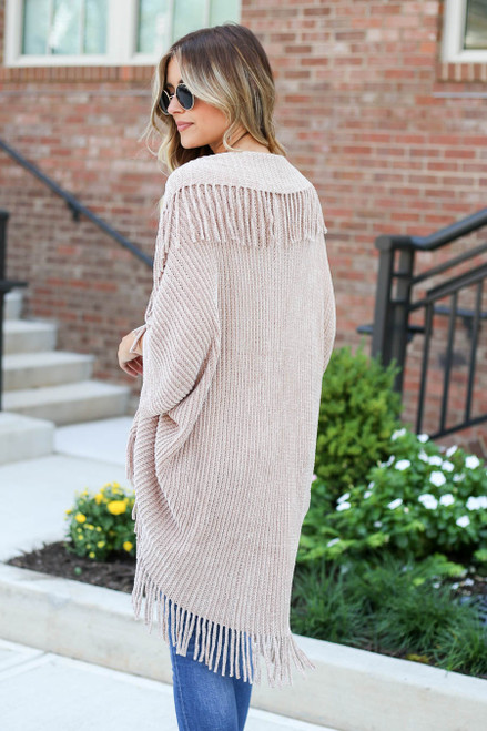 Model wearing Taupe Chenille Fringe Cardigan Back View