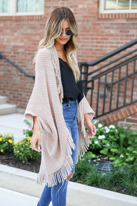 Model wearing Taupe Chenille Fringe Cardigan Side View