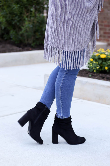 Black - Block Heel Slouch Booties