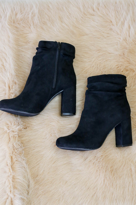 Black Block Heel Slouch Booties Flat Lay