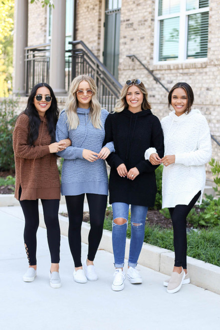 Ivory - Ivory, Mocha and Denim Oversized Popcorn Knit Hoodies
