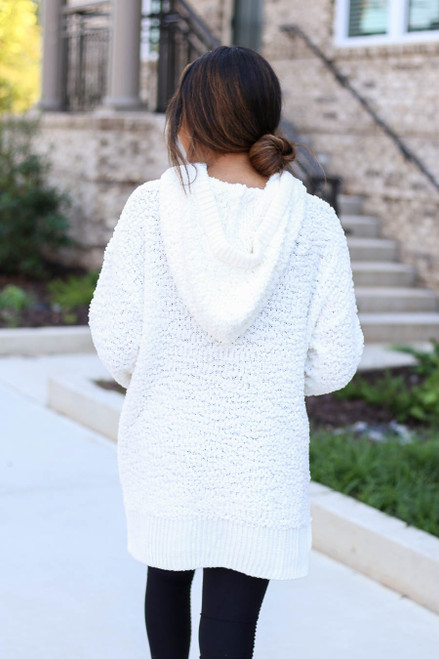 Ivory - Oversized Popcorn Knit Hoodie Back View