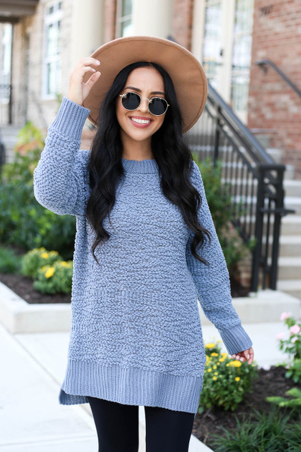 Denim - Popcorn Knit Pullover