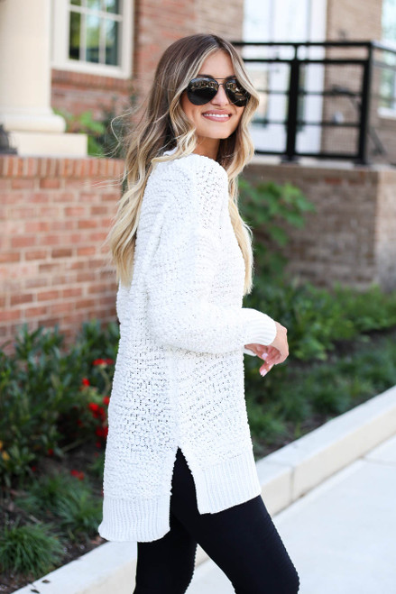 Models wearing Ivory Popcorn Knit Pullover Side View