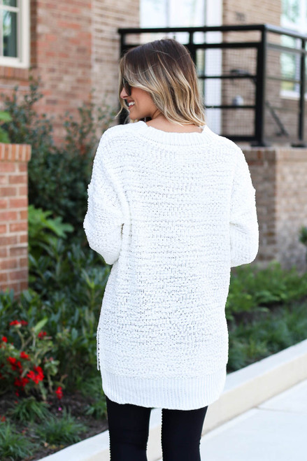 Ivory - Popcorn Knit Pullover Back View