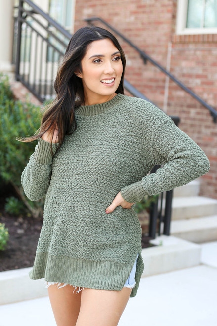 Models wearing Olive Popcorn Knit Pullover Front View