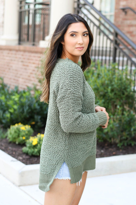 Olive - Popcorn Knit Pullover Side View