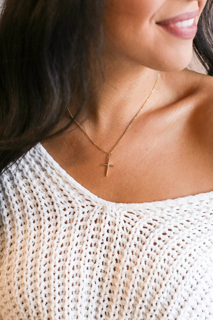 Gold - Cross Necklace on Model