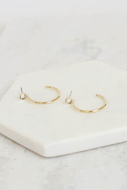 Gold - Open Back Rhinestone Hoop Earrings Flat Lay