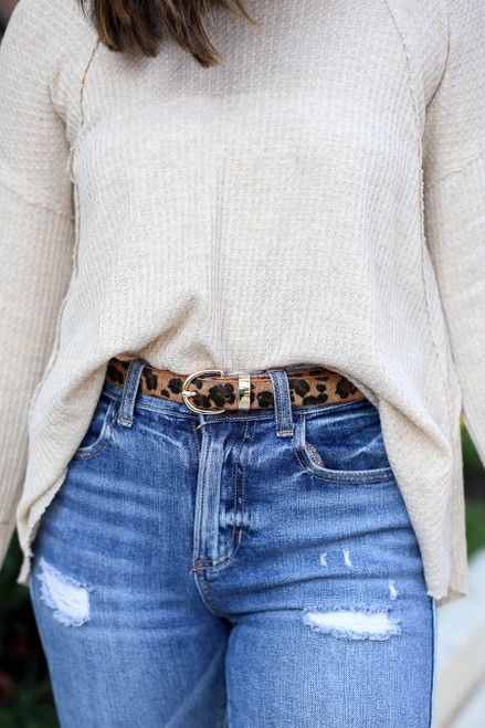 Brown - Skinny Leopard Print Belt on Model