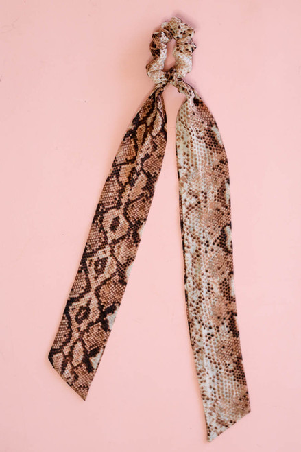 Orange - Snakeskin Print Pony Scarf Flat Lay