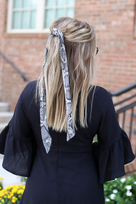 Snake - Snakeskin Print Pony Scarf on Model