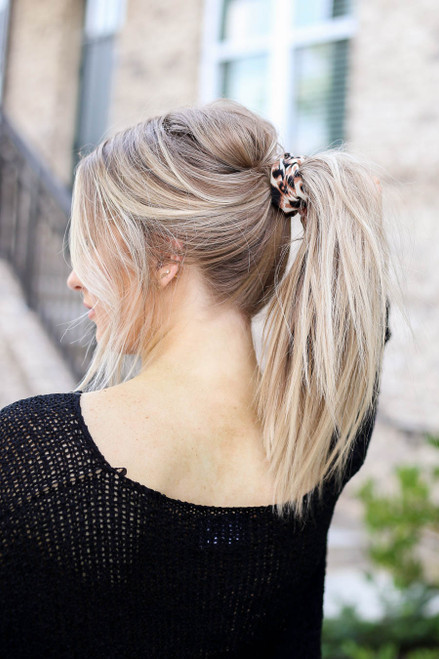 Leopard - Printed Scrunchie on Model