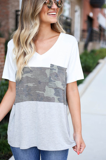 Heather Grey - Color Block Camo Top Detail View
