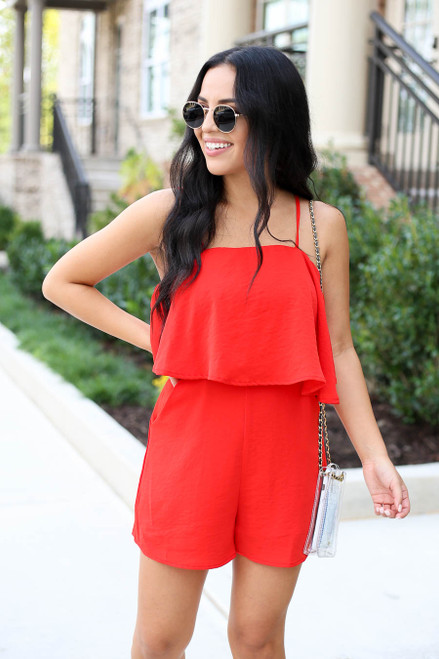 Red - Bre Flounce Romper