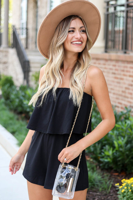 Black - Amelia Strapless Romper Side View