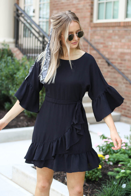 Black - Ruffle Sleeve Mini Dress