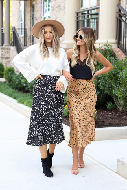 Black - and Mocha Spotted Midi Skirts