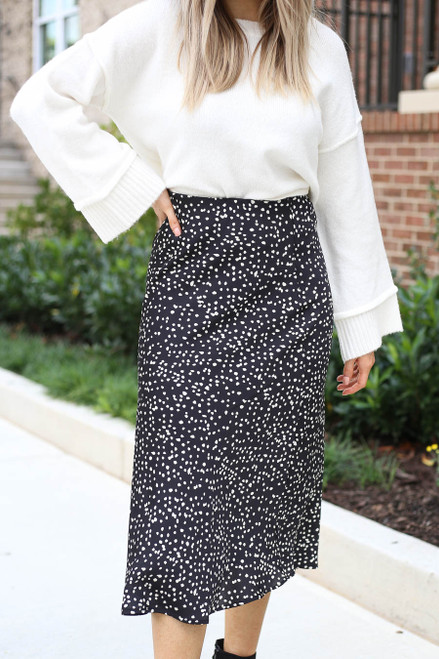 Black - Spotted Midi Skirt Detail View