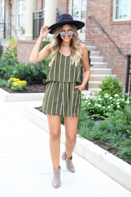 Olive - Striped Jumpsuit Full View