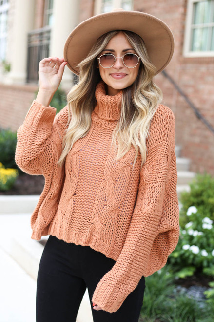 Rust - Turtleneck Cable Knit Sweater