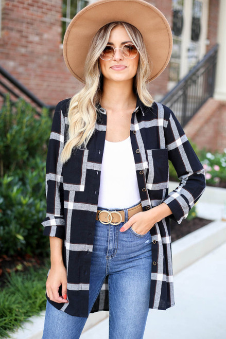 Black - and White Lightweight Flannel Top Open Front