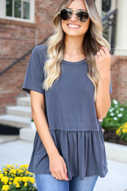 Charcoal - Oversized Peplum Top