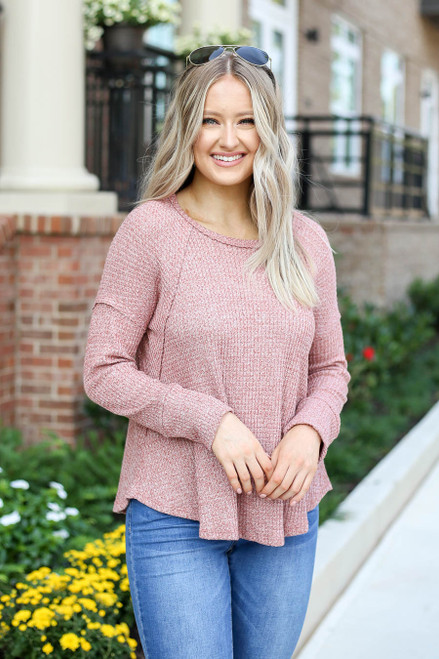 Rust - Oversized Waffle Knit Top