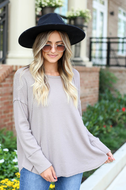 Taupe - Oversized Waffle Knit Top