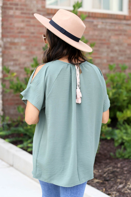 Olive - Cold Shoulder Top Back View