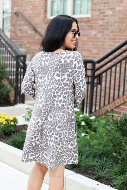 Brown - Leopard Print 3/4 Sleeve Dress Back View