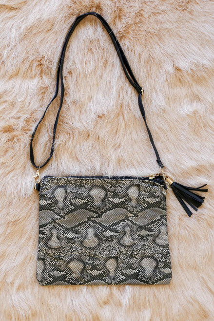 Ivory - Ansley Oversized Snakeskin Clutch with cross body removable strap