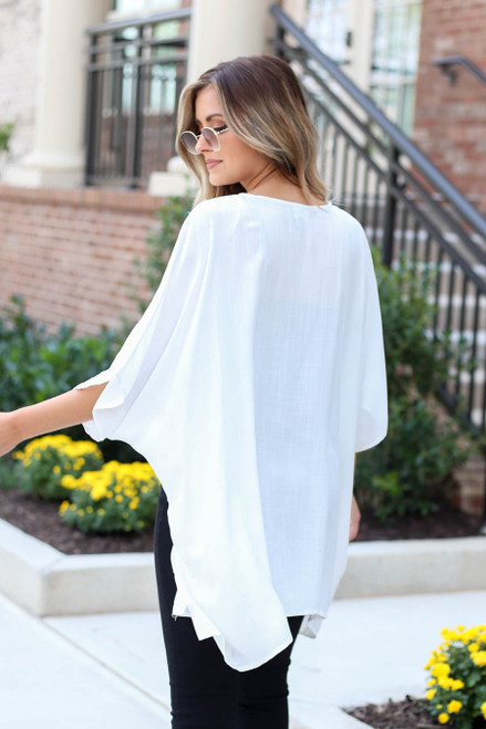White - Lightweight Knit Kimono Back View
