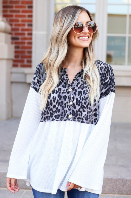 Charcoal - Leopard Contrast Waffle Knit Top