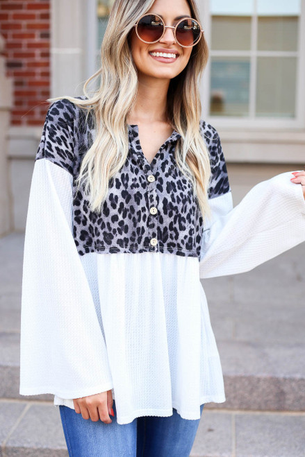 Charcoal - Leopard Contrast Waffle Knit Top Detail View