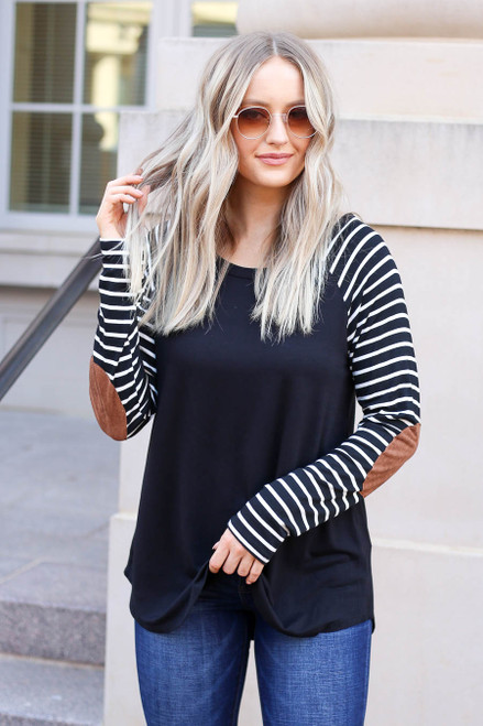 Black - Striped Elbow Patch Top