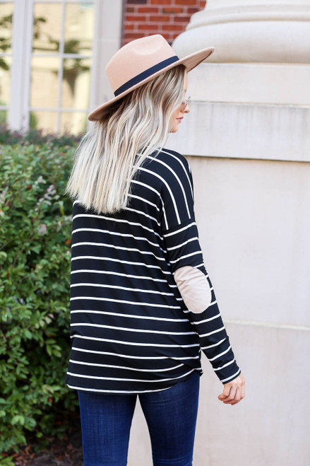 Black - Striped Elbow Patch Top Back View